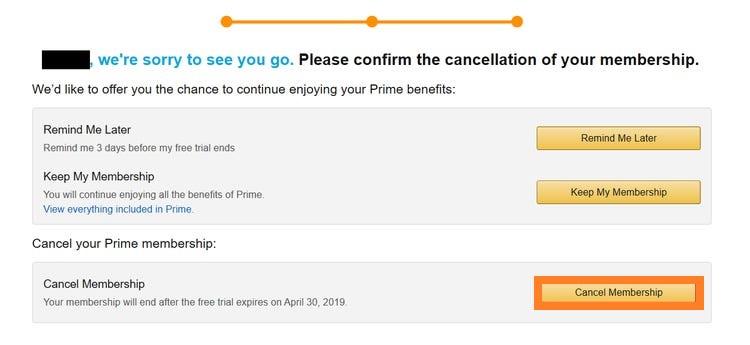 cancel membership option on amazon